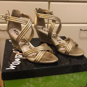 SZ 6.5 Sam Edelman 'Sloan' Gold Sandals